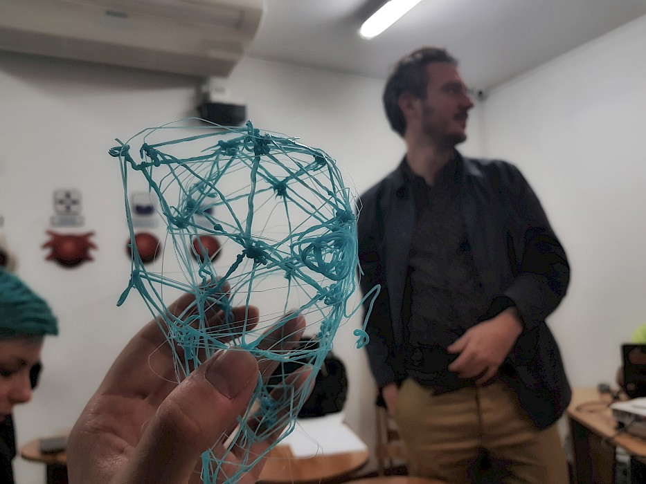 Matthew's geodesic head at the Fab Lab Lima.