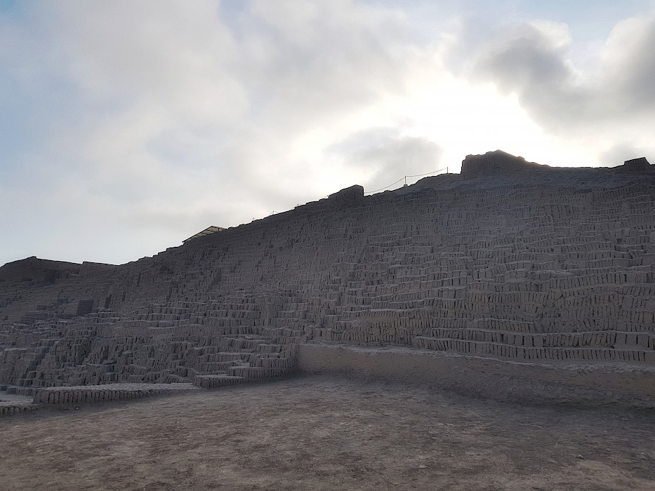 Ruins at Huaca Pucllana: a pyramid of hand molded Incan bricks.